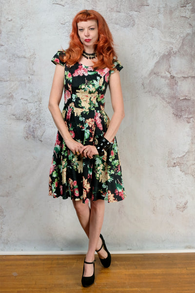 1950s black floral repro dress size small
