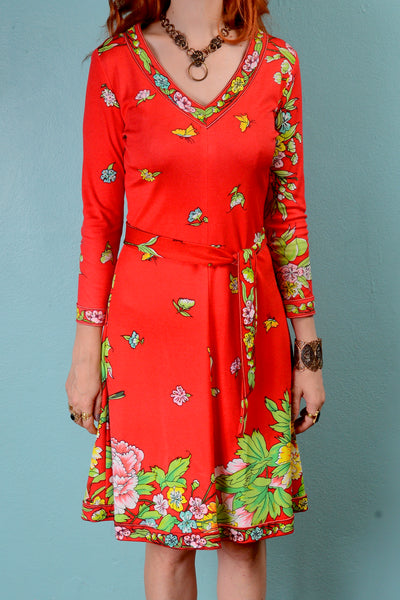 Vintage 1970s mod red floral op art v-neck dress