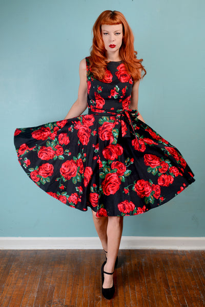 Vintage 1950s inspired red roses on black full circle skirt dress SMALL unique rockabilly swing 50s