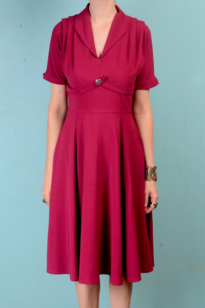 Vintage 1940s inspired Hell Bunny magenta crepe swing dress