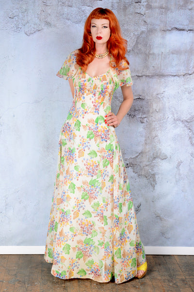 Vintage Fruit print 1970s gauze maxi dress