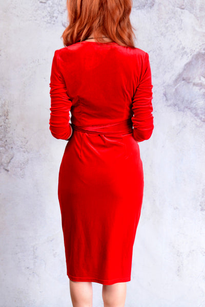 Red velvet wrap dress size medium