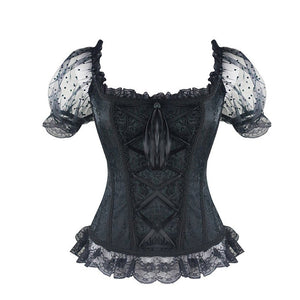 Midnight Blue Corset Front and Back Lolita Lace Puffed Sleeves Blouse