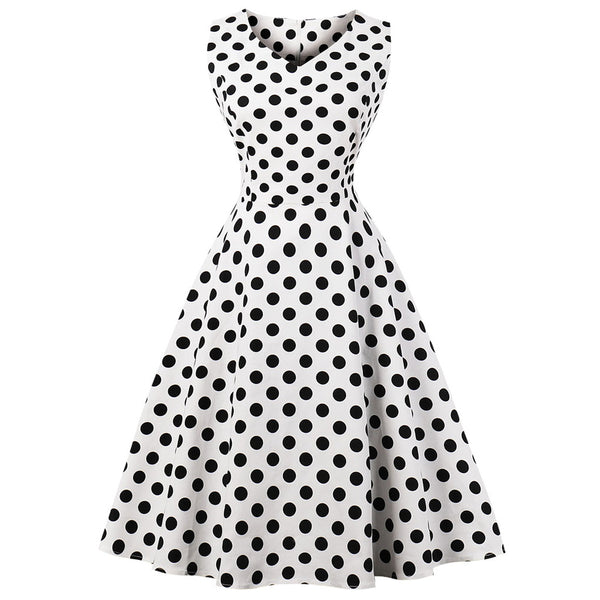 Blue Polka Dot Fit and Flare Swing Dress