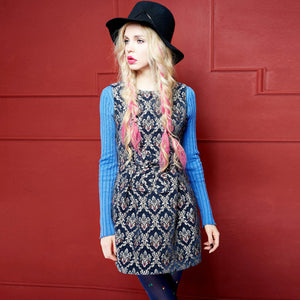 Navy Blue Mod Tapestry Carpet Damask Tunic Mini Dress