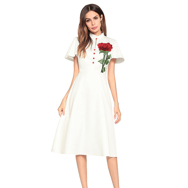 White Flutter Sleeves Dress with Rose Embroidery