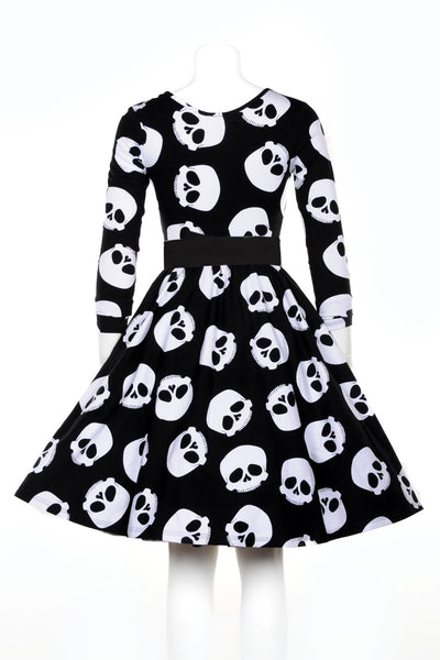 Black and White Skulls Print Fit and Flare Dress