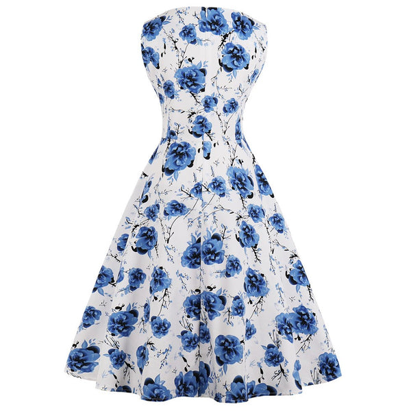 Navy Blue Floral Fit and Flare Swing Dress