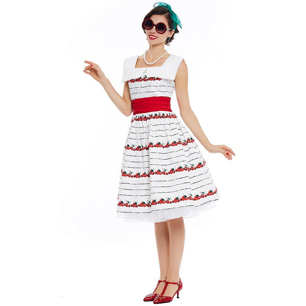 Boatneck Cherries on White Fit and Flare Dress