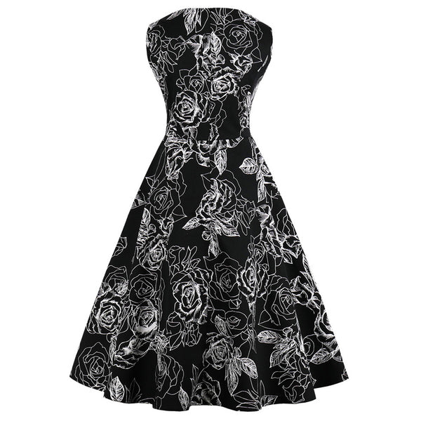 White on Black Floral Fit and Flare Swing Dress
