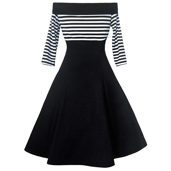 Black and White Nautical Striped Off the Shoulder Swing Dress