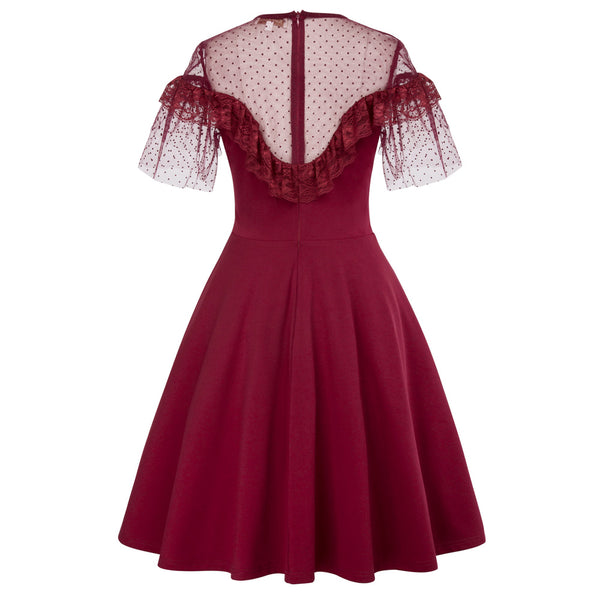 Wine Red Swiss Dot Sheer illusion Bell Sleeves Swing Dress