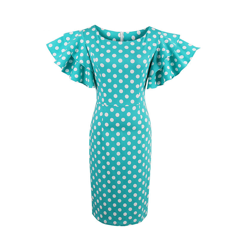 Teal Blue with White Polka Dots and Flutter Sleeves Sheath Dress