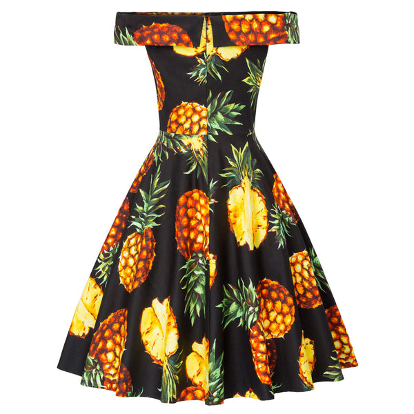 Pineapple Print Off the Shoulder Full Skirt Swing Dress