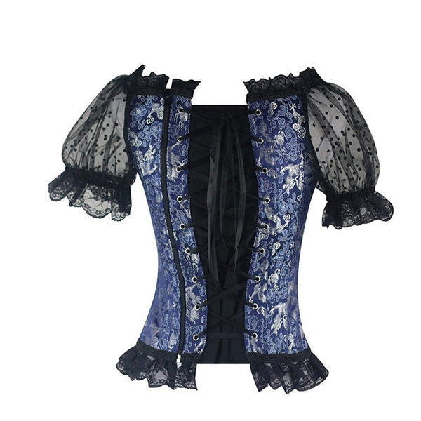 Noir Black Corset Front and Back Lolita Lace Puffed Sleeves Blouse