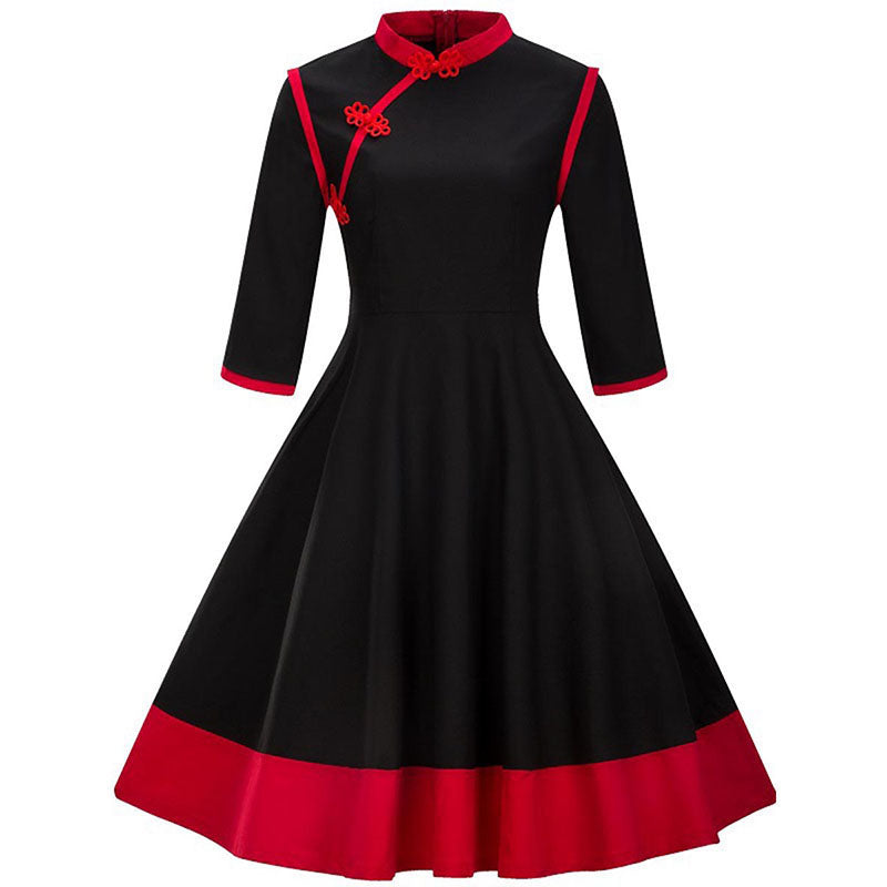 Cheongsam Mandarin Inspired Black and Red Swing Dress