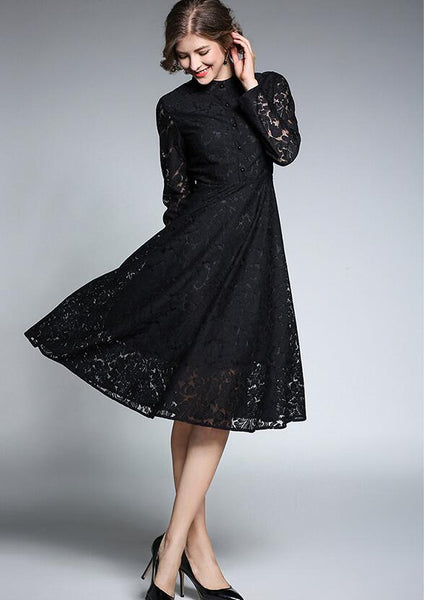 Vintage 1950s Navy or Black Lace Full Skirt Dress