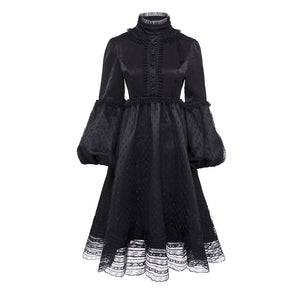 Goth Black Velvet Victorian Lace Lantern Sleeves Dress
