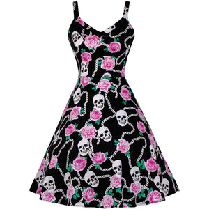 Pink and Black Floral Skull Fit and Flare Swing Dress