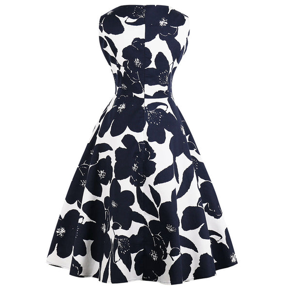 White Floral on Black Fit and Flare Swing Dress