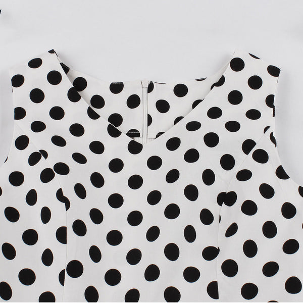 Black on White Polka Dot Fit and Flare Swing Dress