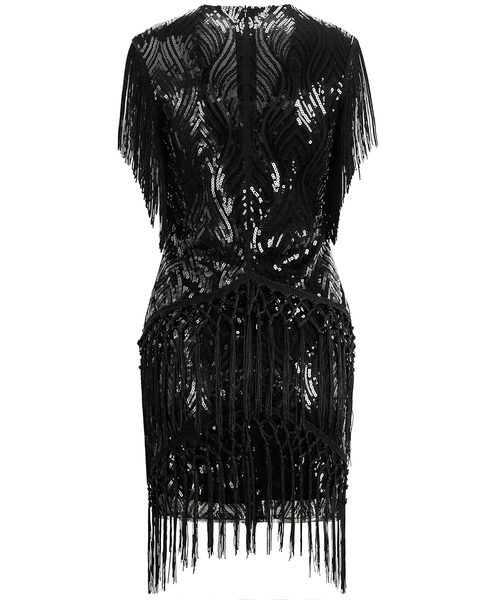 NWT Black mini beaded deco flapper dress ALL SIZES