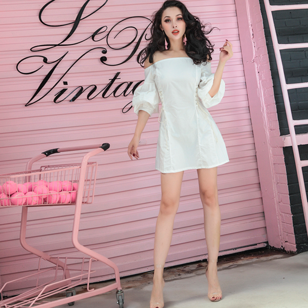 Winter White Mini Dress with Lantern Sleeves and Corset Detail