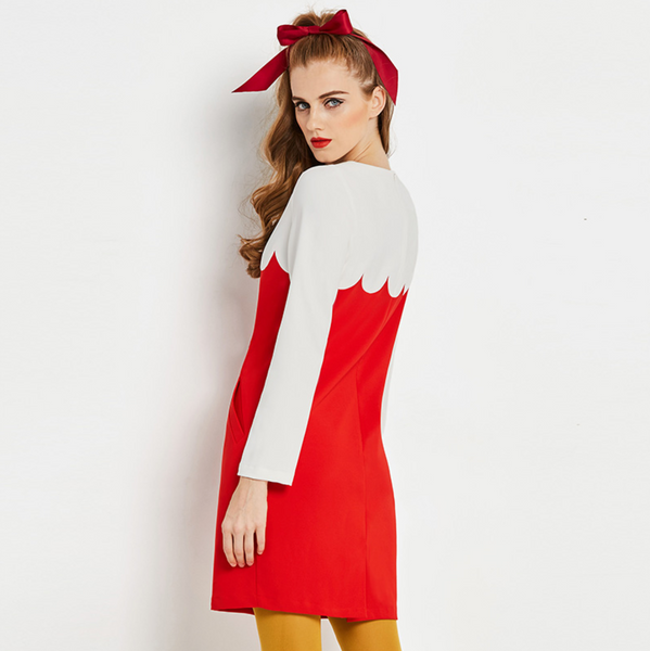 Vintage 1960s Op Art Red and White Mod Mini Dress
