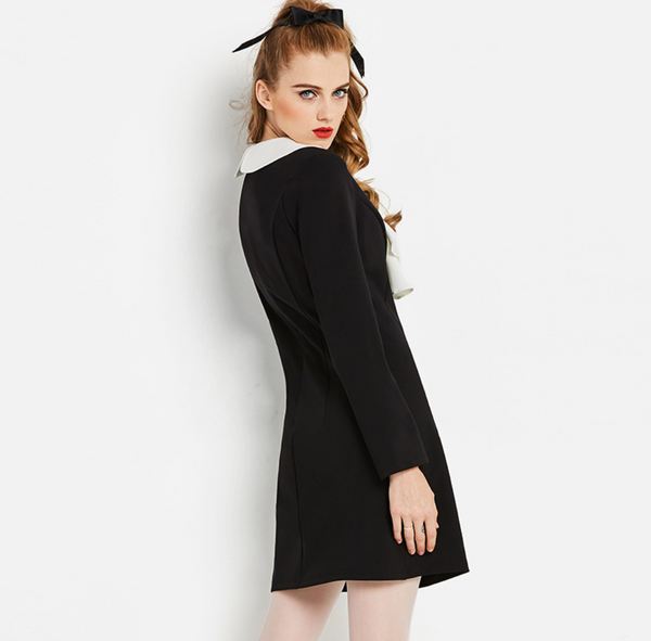 Vintage Mod 1960s Black Mini Dress with Ruffle Collar