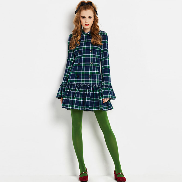 Vintage Mod 1960s Tartan Plaid mini dress with Trumpet Sleeves