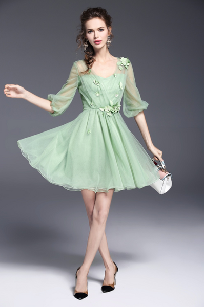 Vintage 1950s Mint Green Chiffon Dress