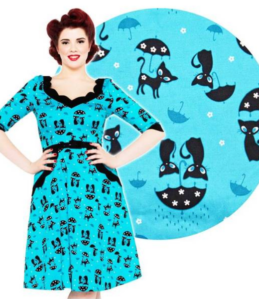 Vintage 1950s Right Meow Novelty Cat Dress