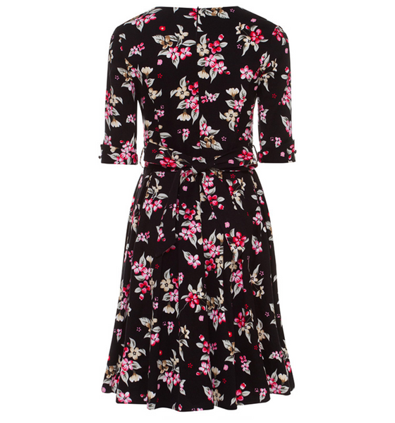 Tie back Floral Full Skirt Dress