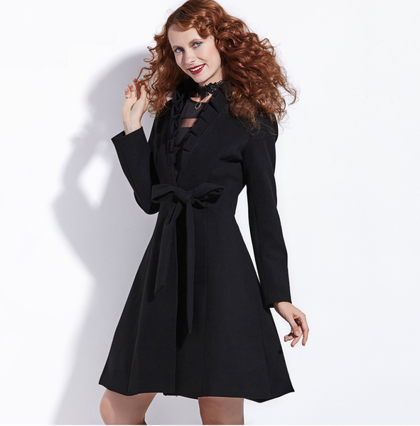 Goth Black Fit and Flare Princes Coat with Ruffle Detail