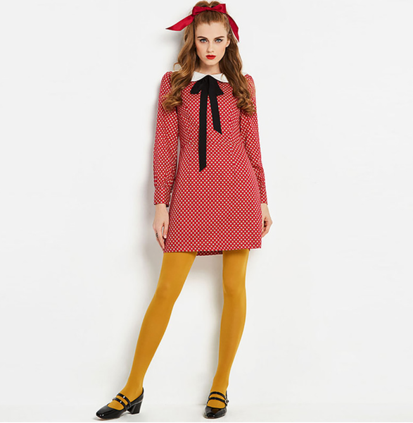 MOD Red Polkadot Go go Mini Dress with Peter Pan Collar and Pussy Bowtie