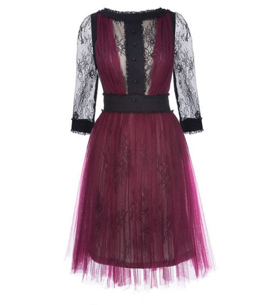 Black Lace and Maroon Mesh Full Skirt Mini Dress