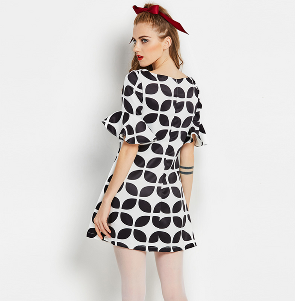 US STOCK Black and White Psychedelic Op Art Mini Go Go Dress LARGE