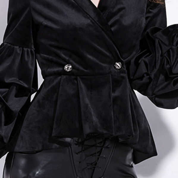 Black Velvet Lantern Sleeves Goth Wasp Waist Jacket