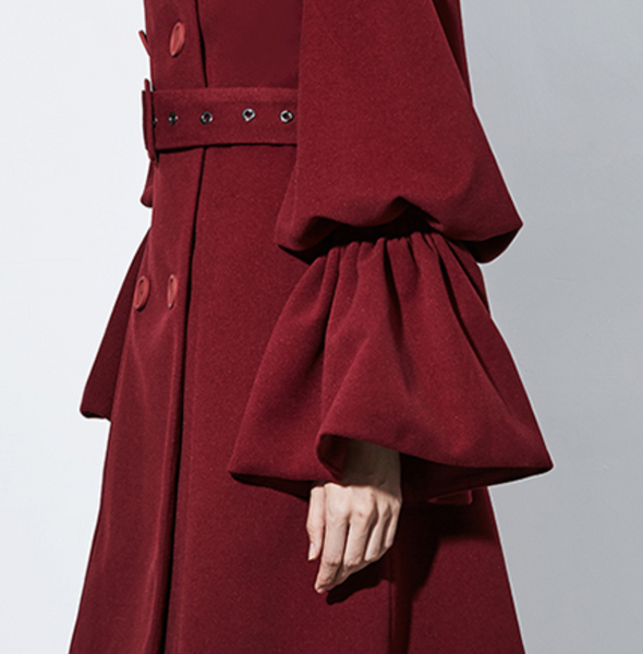 Maroon Blood Red Goth Ruffled Sleeves Double Breasted Coat