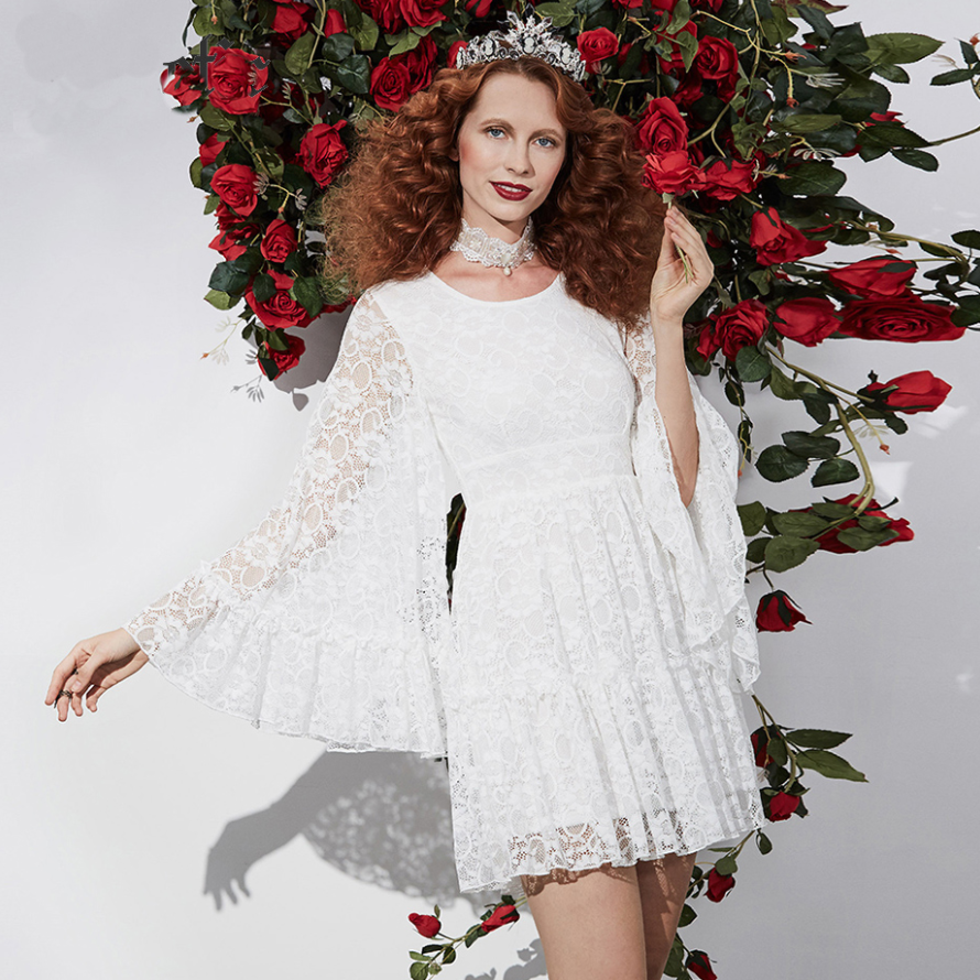 Stark White MOD Lace Mini Dress with Massive Angel Sleeves