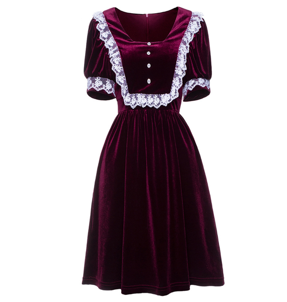 Wine Velvet Mini Dress with White Lace Detail and Puffed Sleeves
