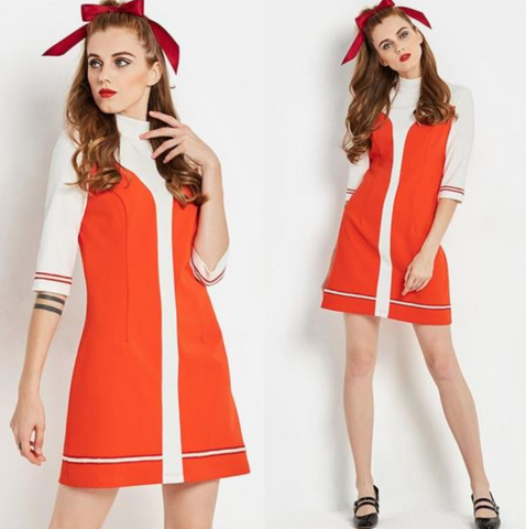 Orange and White Mini Dress rave Lolita