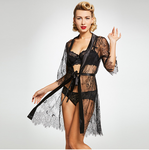 Black Lace and Satin Nightgown Robe Peignoir