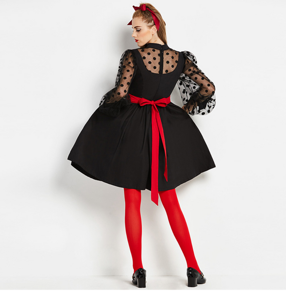 Black Fit and Flare dress with Dot Mesh Sleeves and Red Sash Belt