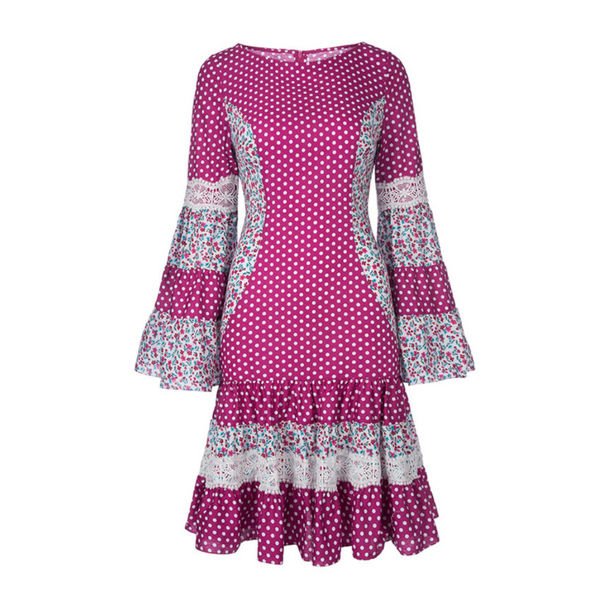 Calico Fuchsia floral Dots Bell Sleeves Mini Dress