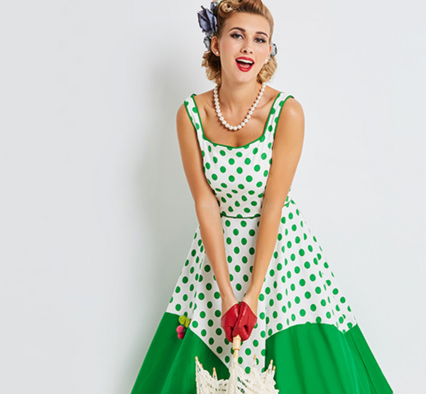 Green and White Polkadot Swing Dress