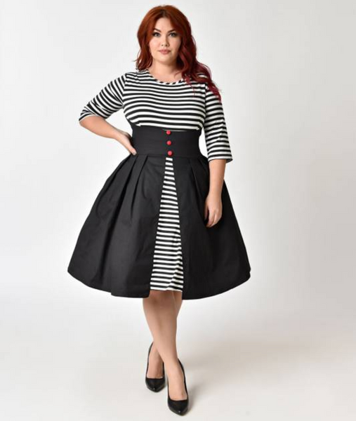 Black and White Striped Sleeved Swing Dress PLUS SIZE