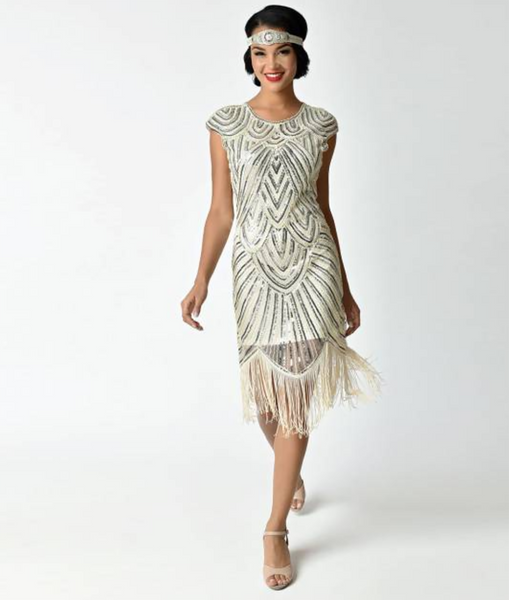 Cream White Cap Sleeve Beaded Fringe Sequin Deco Flapper Dress