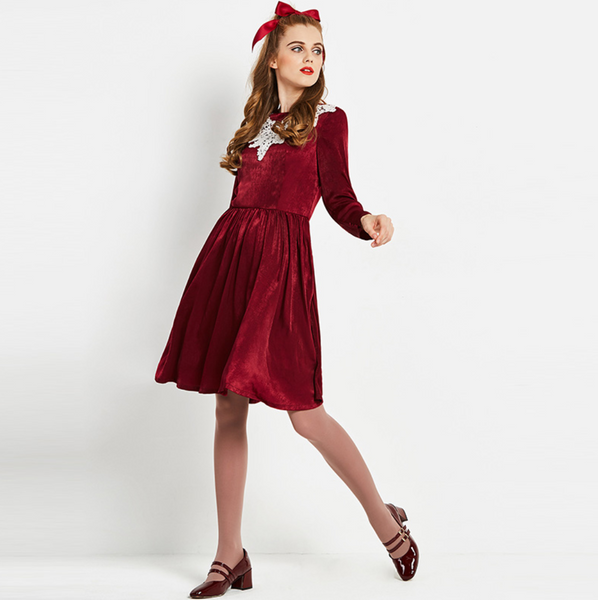 Vintage 1960s wine red lace collar velvet fit and flare unique mod rockabilly 60s 50s dress