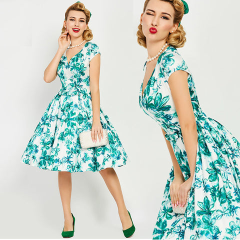 Green and Teal Floral Flare Swing Dress